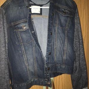 Jean Jacket with sweatshirt sleeves